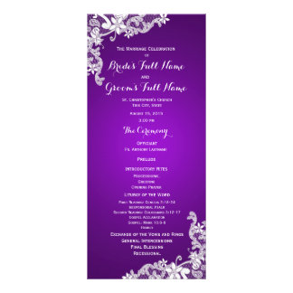 Purple and Vintage Floral Lace Wedding Program Rack Cards