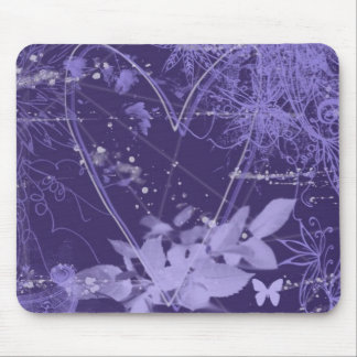 Purple and violet abstract heart mousepad