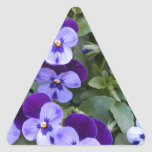 Purple and Violet Pansies Triangle Stickers
