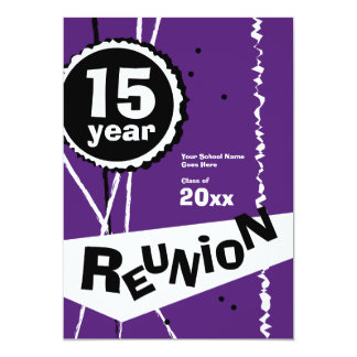 Purple and White 15 Year Class Reunion Invitation