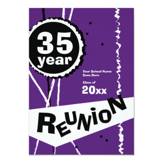 Purple and White 35 Year Class Reunion Invitation