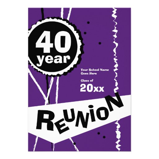 Purple and White 40 Year Class Reunion Invitation