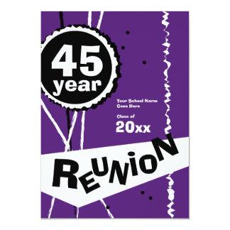 Purple and White 45 Year Class Reunion Invitation