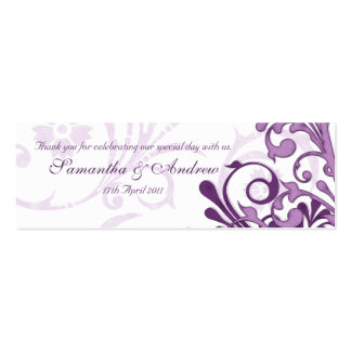 Purple and White Abstract Floral Favour Tags Double-Sided Mini Business Cards (Pack Of 20)