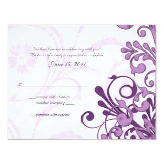 Purple and White Abstract Floral Reply Card