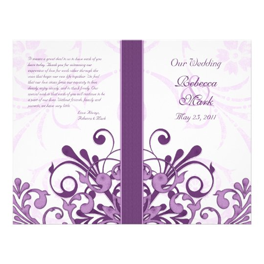 Purple and White Abstract Floral Wedding Program