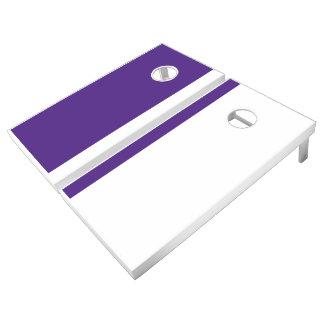 Purple and White Add Your Logo Cornhole Set