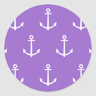 Purple and White Anchors Pattern 1 Classic Round Sticker