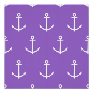Purple and White Anchors Pattern 1 Poster