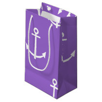 Purple and White Anchors Pattern 1 Small Gift Bag