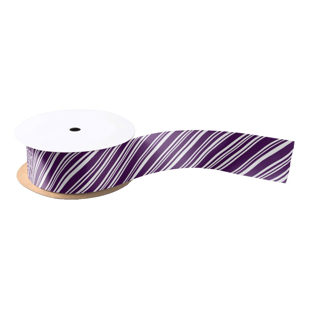 Purple and White Angled Candy Stripe Ribbon