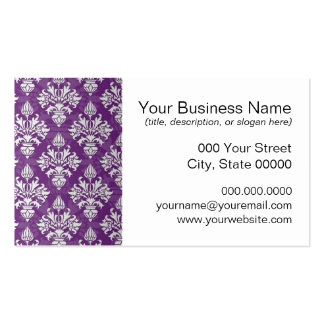 Purple and White Artichoke Damask Design Business Card