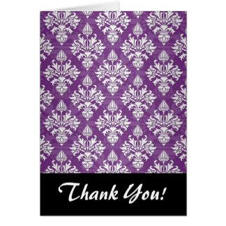 Purple and White Artichoke Damask Design Card