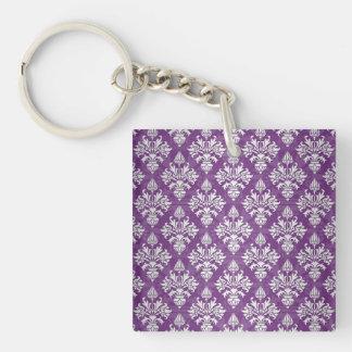 Purple and White Artichoke Damask Design Keychain
