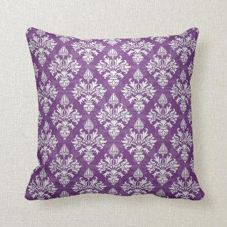 Purple and White Artichoke Damask Design Throw Pillow