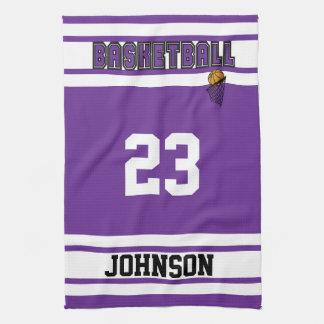 Purple and White Basketball Kitchen Towel