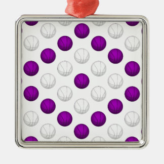Purple and White Basketball Pattern Metal Ornament