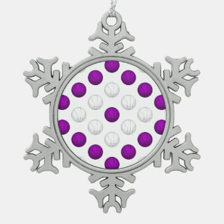 Purple and White Basketball Pattern Snowflake Pewter Christmas Ornament