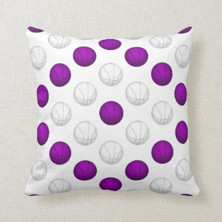 Purple and White Basketball Pattern Throw Pillow