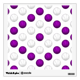 Purple and White Basketball Pattern Wall Decal