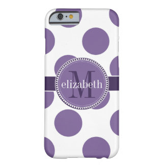 Purple and White Big Polka Dots Monogram Barely There iPhone 6 Case