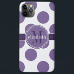 "Purple and White Big Polka Dots Monogram iPhone 11 Pro Max Case<br><div class=""desc"">Big,  bold polka dots providing a modern look on a classic pattern in a variety of color combinations for you to monogram with your first name and last initial.  Created by Holiday Hearts Designs for HHTrendyCases.  Shown here in medium purple and white.</div>"