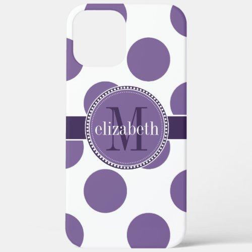 Purple and White Big Polka Dots Monogram iPhone 12 Pro Max Case