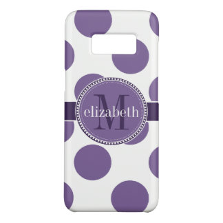 Purple and White Big Polka Dots Monogram Case-Mate Samsung Galaxy S8 Case