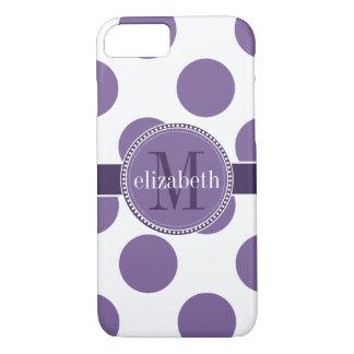Purple and White Big Polka Dots Monogram iPhone 7 Case