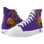 Purple and White Bobcats or Wildcats Basketball High-Top Sneakers