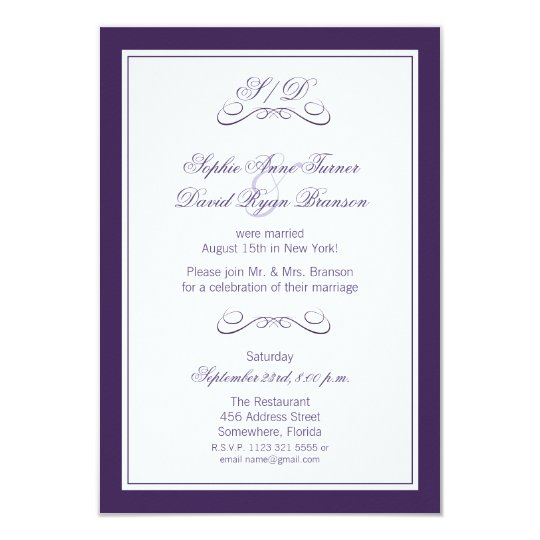 Purple And White Border Evening Wedding Reception Invitation