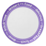 Purple and white Breakfast Lunch Dinner text plate