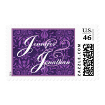 Purple and White Bride  Wedding and Groom Damask Postage Stamps