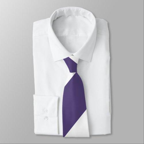 Purple and White Broad Regimental Stripe Neck Tie