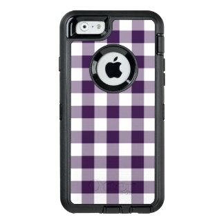 Purple and White Buffalo Plaid OtterBox Defender iPhone Case