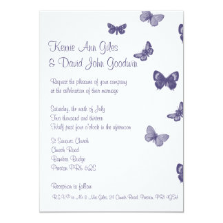 Purple and White Butterfly Wedding Invitation
