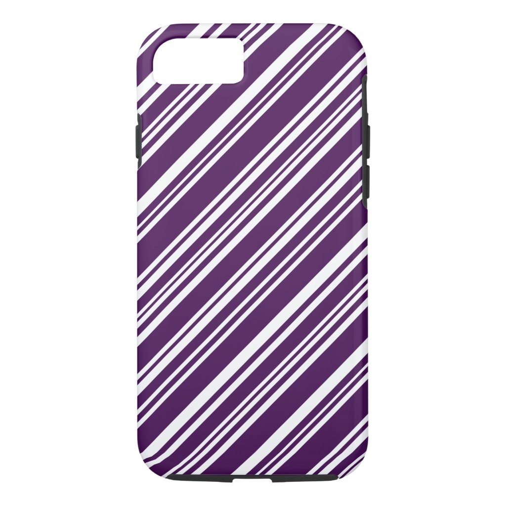 Purple and White Candy Stripes iPhone 7 Case