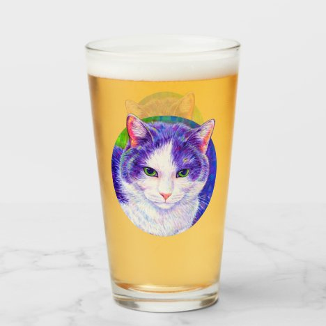 Purple and White Cat Drinking Glass Cup