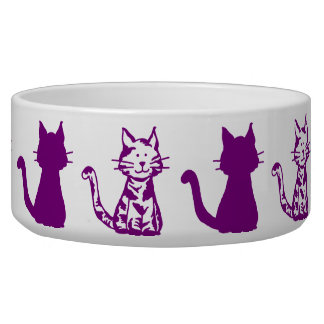 Purple and White Cats Pattern Large Pet Bowl
