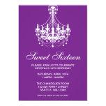 Purple and White Chandelier Sweet Sixteen Birthday Invitations