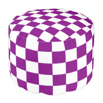 Purple and White Checkered Pouf