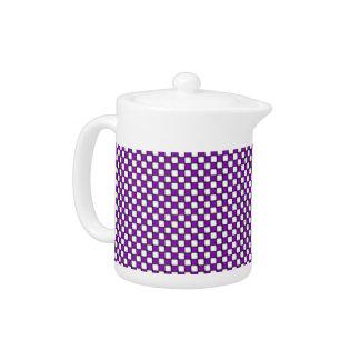 Purple and White Checkered Teapot