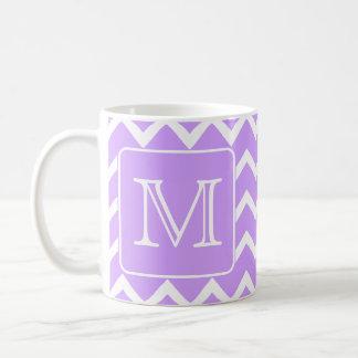 Purple and White Chevron Design. Custom Monogram. Coffee Mug