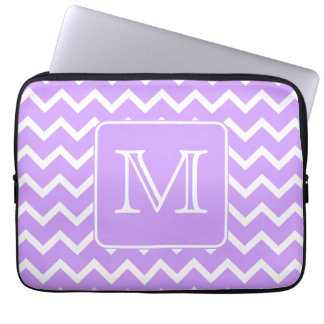 Purple and White Chevron Design. Custom Monogram. Computer Sleeve