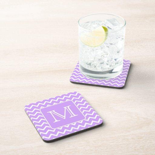 Purple and White Chevron Design. Custom Monogram. Beverage Coasters