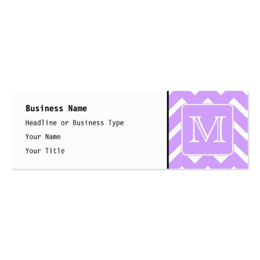 Purple and White Chevron Design. Custom Monogram. Double-Sided Mini Business Cards (Pack Of 20)