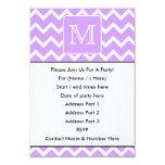 Purple and White Chevron Design. Custom Monogram. 3.5x5 Paper Invitation Card