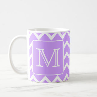 Purple and White Chevron Design. Custom Monogram. Classic White Coffee Mug