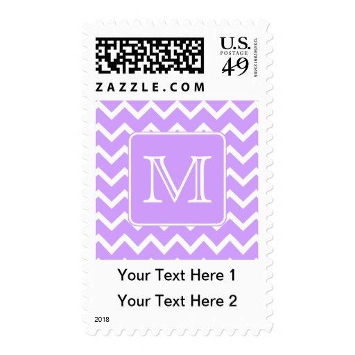 Purple and White Chevron Design. Custom Monogram. Postage Stamps