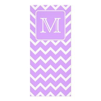Purple and White Chevron Design. Custom Monogram. Rack Card